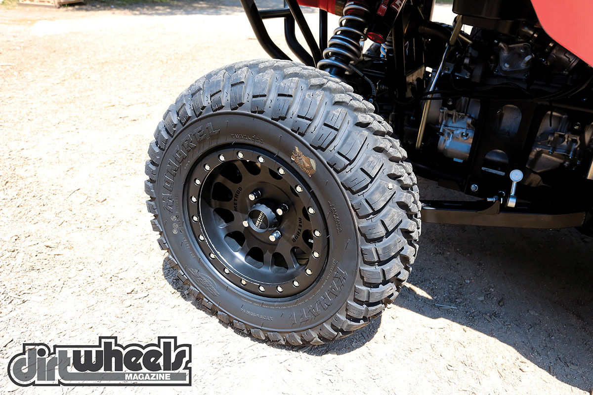 Method Race Wheels are sturdy wheels that were originally designed for off-road trucks. They have a UTV line of beadlock wheels like this one that has a GBC Kanati tire wrapped around it.