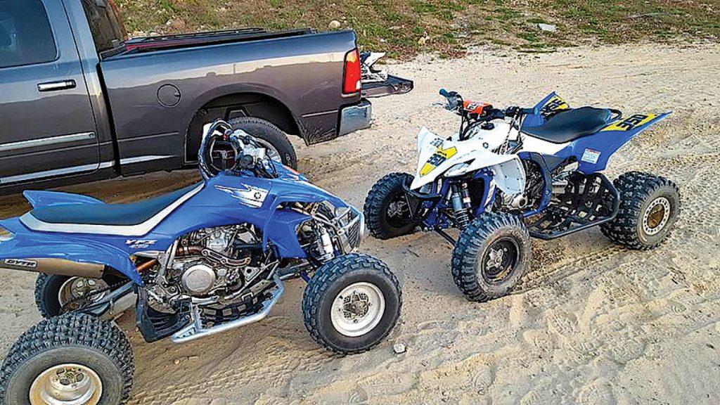 Jim Chapman's 2006 Yamaha YFZ450 and 2016 YFZ450. Tim