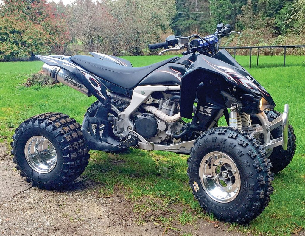 Chuck Clinton's 2008 Kawasaki KFX450 has a Looney Tuned dual exhaust, intake and programmer kit, Douglas wheels with GBC front tires and Tusk rears