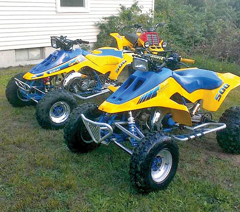 Here are Jeremy Byers' two Quadzillas and a Yamaha Banshee in back.