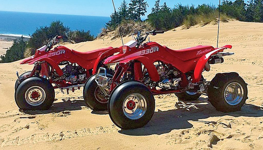 Brad Frank's two Honda TRX250Rs.