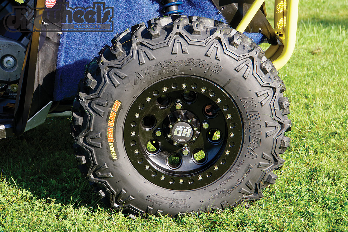 Buckhannon prefers the strength of the STI true beadlock cast-aluminum wheel. They are wrapped in the Kenda Bear Claw HTR tires with Tire Balls installed to avoid flats.