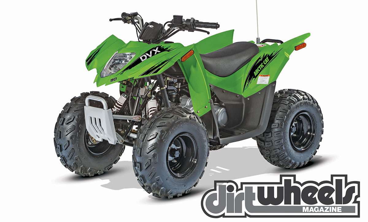 Arctic Cat's DVX90 looks as sporty as any quad in the lineup. It should make youth riders over 12 very happy. It features an air-cooled engine with a CVT automatic transmission.