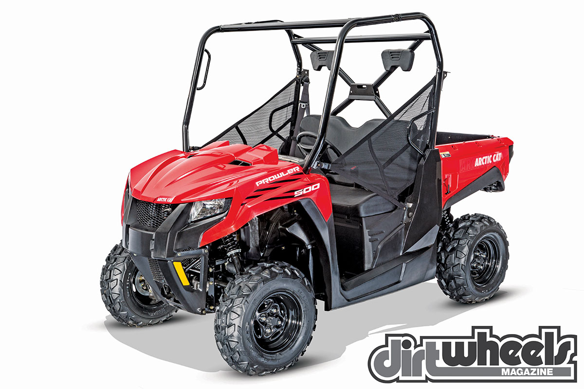 The Prowler 500 is the least expensive Arctic Cat UTV at $9499. It doesn't have EPS, but it does have a liquid-cooled engine, 2WD/4WD/diff-lock and 7.5 inches of wheel travel.