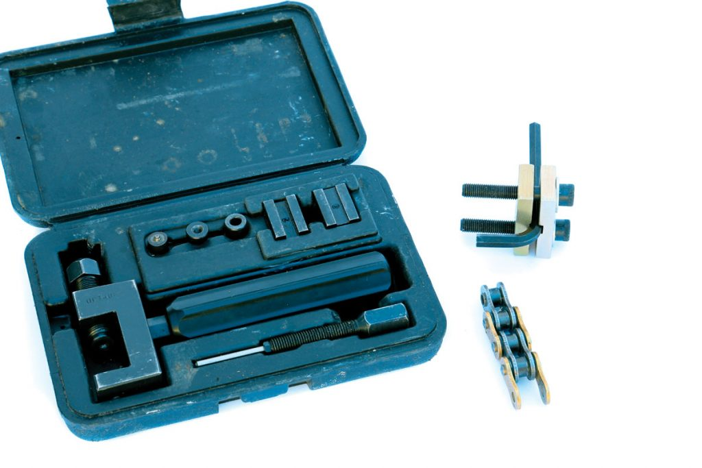 These are full-sized chain tools, but Motion Pro (www.motionpro.com) has small light units that you can carry more easily. There is no dealing with an O-ring chain without the right tools.