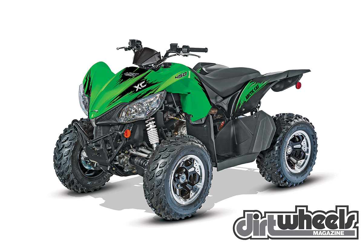 Arctic Cat's sporty-looking XC 450 combines the motor and chassis goodness of the 500 4x4 with alloy wheels, sport-tuned suspension and 30 pounds less weight. It doesn't offer diff-lock.