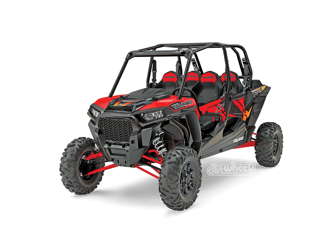 The Polaris RZR XP Turbo 4 should benefit from the cooling, suspension, drivetrain and brake upgrades more than the two-seater does.