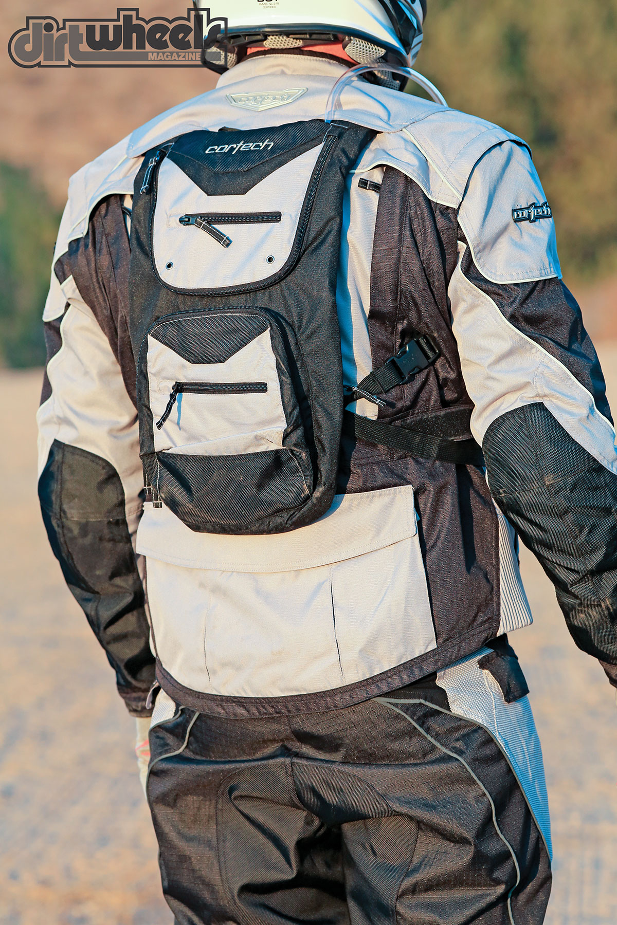 Cortech hit a home run with the integrated hydration pack. The jacket has the option to slide the hydration pack's shoulder straps through the jacket for an awesome fit. It has enough pockets to carry crucial tools or gear as well.