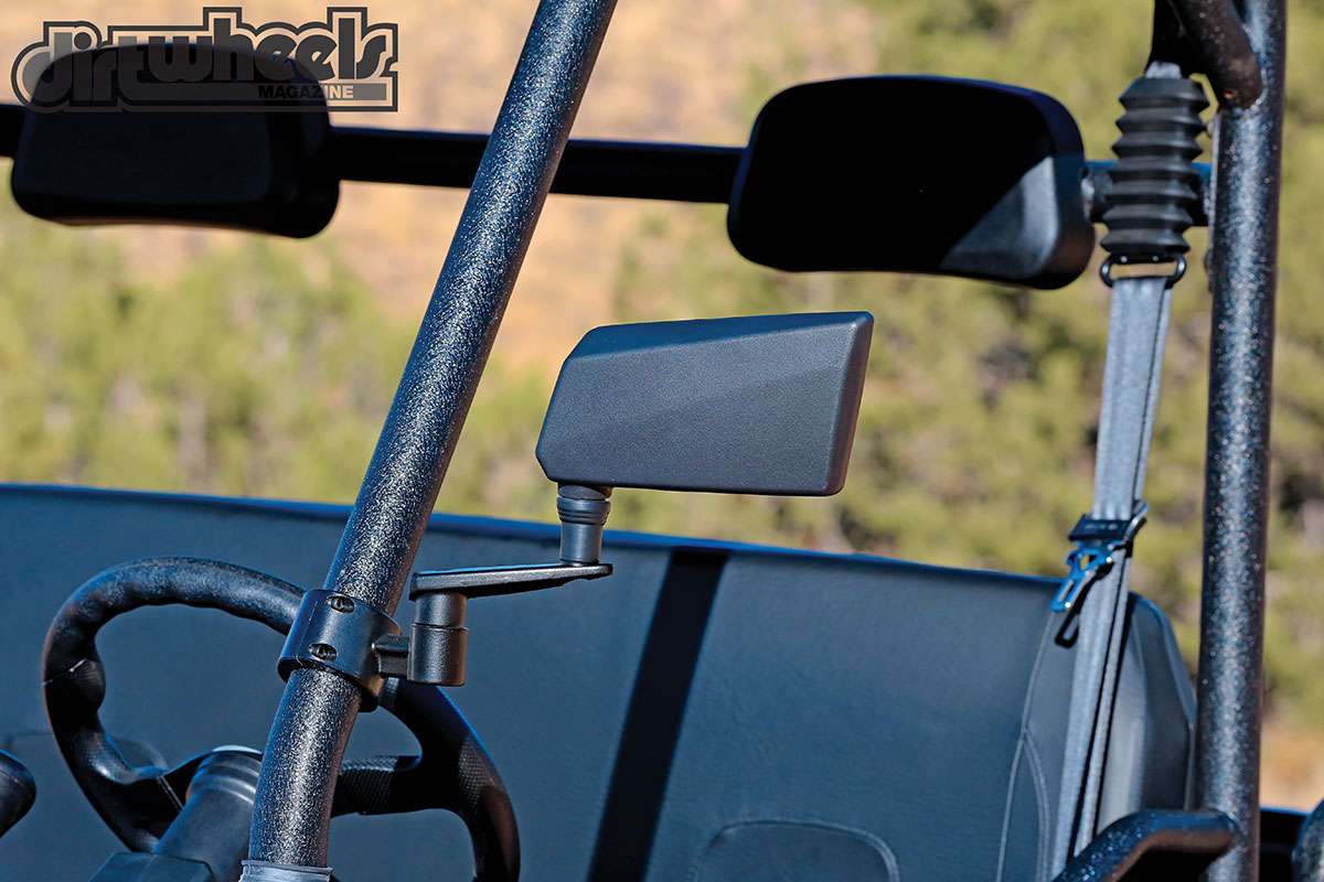 We don't know why all UTVs don't come stock with mirrors. They make life much easier when you need to back up.