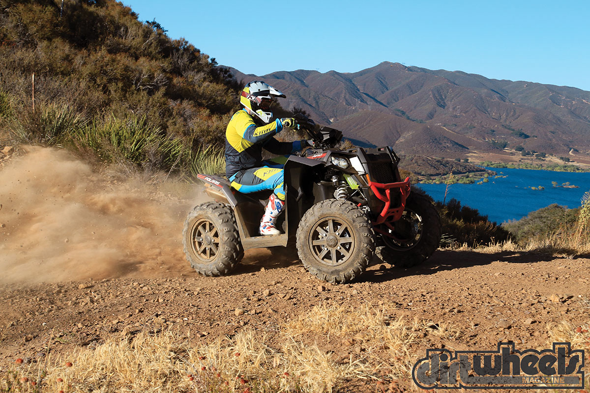 Making perfect corners is simple with the power steering. Even in all-wheel drive this quad handles great!