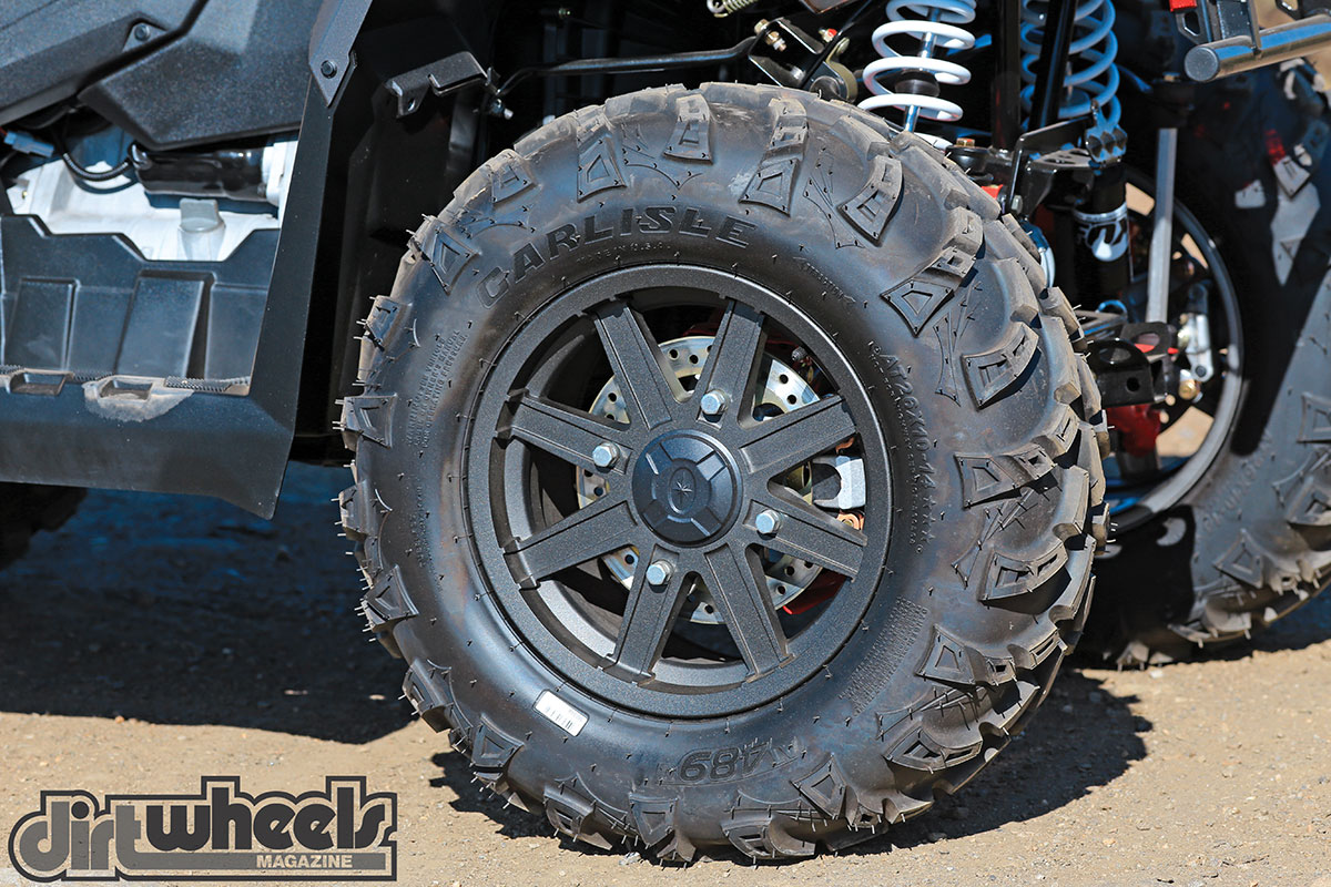 Polaris has been using the Carlisle AT 489 tires for years on their machines and have now added the AT 489 II to the Scrambler XP 1000. It created decent traction, but for the 1000, we would like to see a tire with a little more grip. The black cast-aluminum wheels look great, are lightweight and add strength.