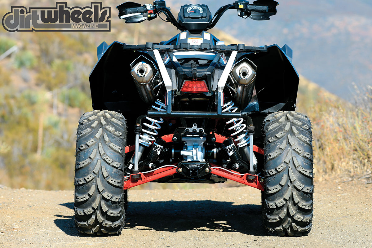 With the Scrambler's 49-inch width, it's trail-ready and is still wide enough to stay planted in the corners at high speed. It also has a plastic skid-plate protection on the frame and each lower the front and rear A-arm.