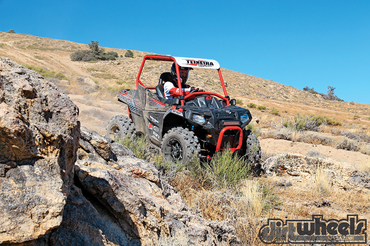 Polaris purposely made the Ace 570 narrow so it fits on quad trails. That results in somewhat short suspension travel. Walker Evans makes the most of the available travel.