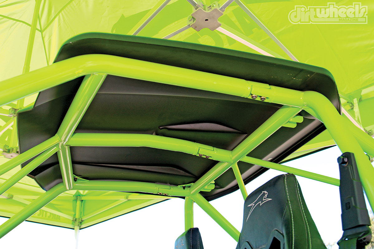 The $19,499 Arctic Cat Wildcat X Limited has a stronger roll cage with a roof. There are V-bars in the front and rear of the cage, and the roof bars are now at the edges of the cage with one center-mounted bar.