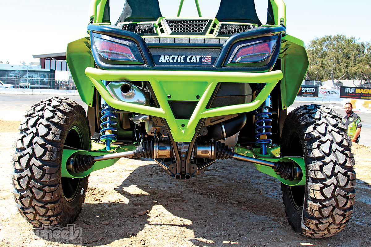 Color-matched aluminum bumpers come on the X Limited model. The axles, hubs and trailing arms can be used on either side of the 'Cat.