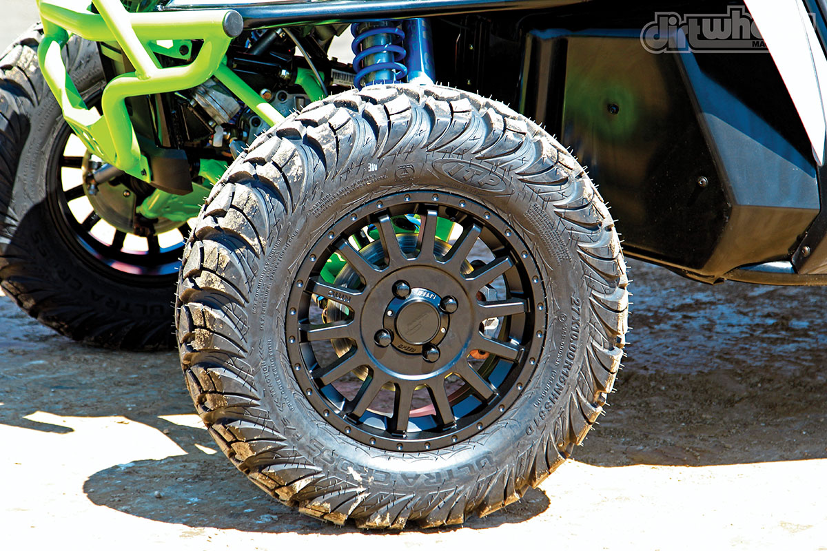 Fifteen-inch KMC wheels with 27-inch ITP Ultracross tires come stock on the X lineup.