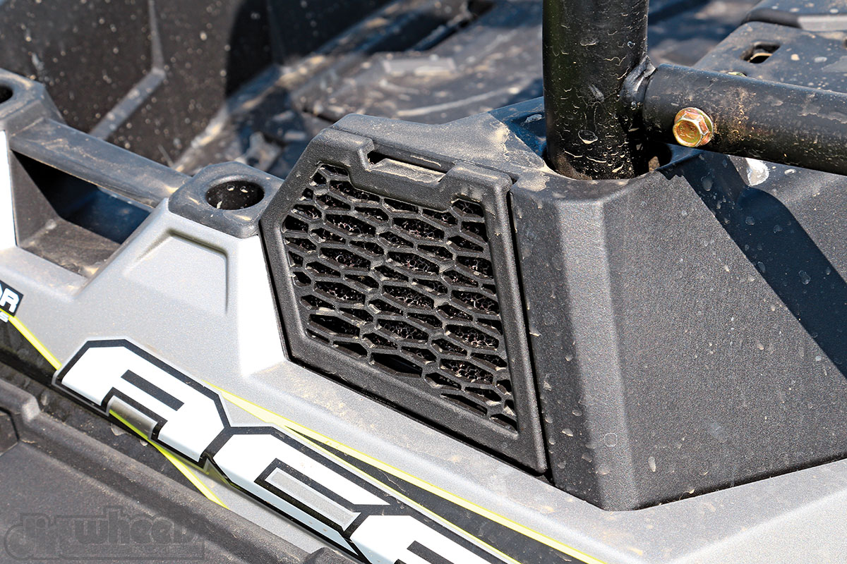 Polaris wisaely keeps the air intakes high and on the sides of the bed to keep them away from water and dust.