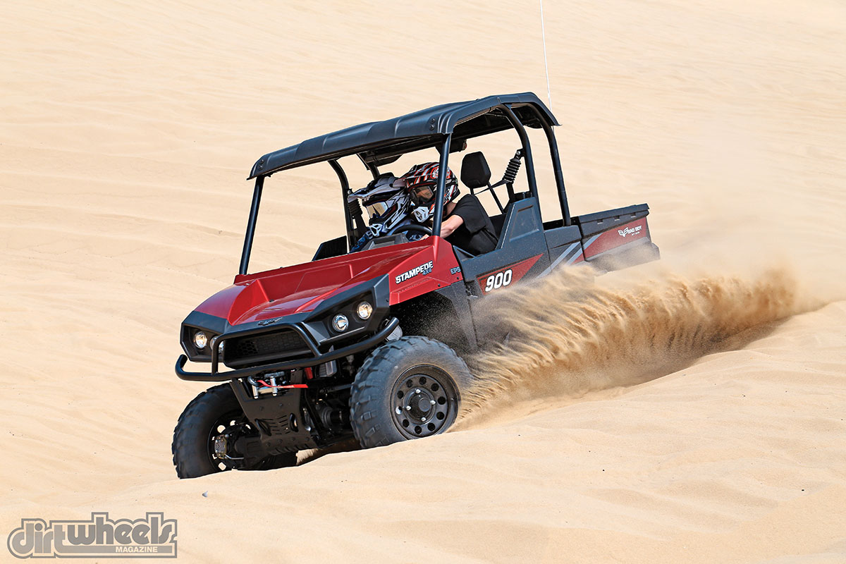 Most likely Bad Boy didn't build the Stampede two-seat UTV for playing in the sand dunes, but it has more than enough power and acceleration for recreational driving.