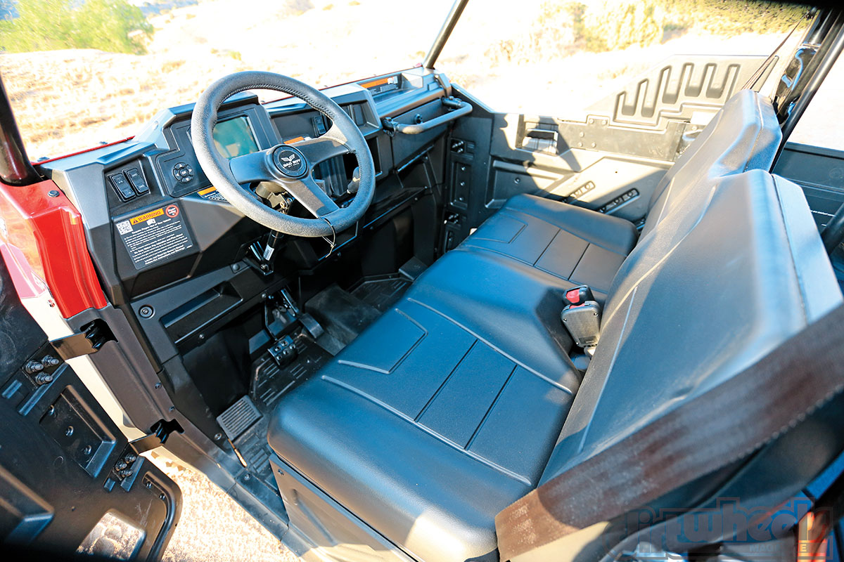 The interior isn't too fancy, but it is quite comfortable. The bench seat has a pleasant density, and all the controls are usable and well placed.