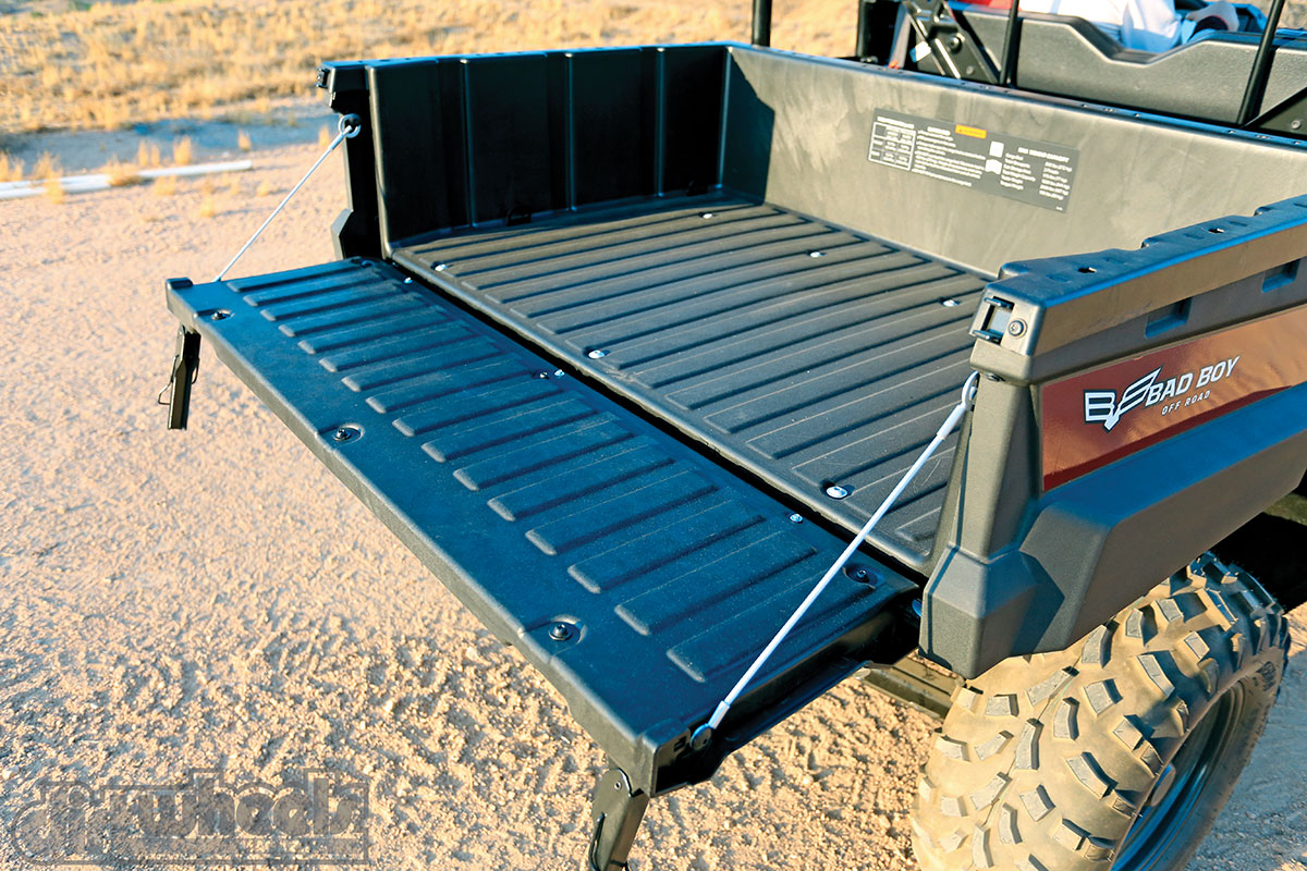 Even though the bed has a manual dump feature, it is easy to use thanks to a handy assist from a gas strut.