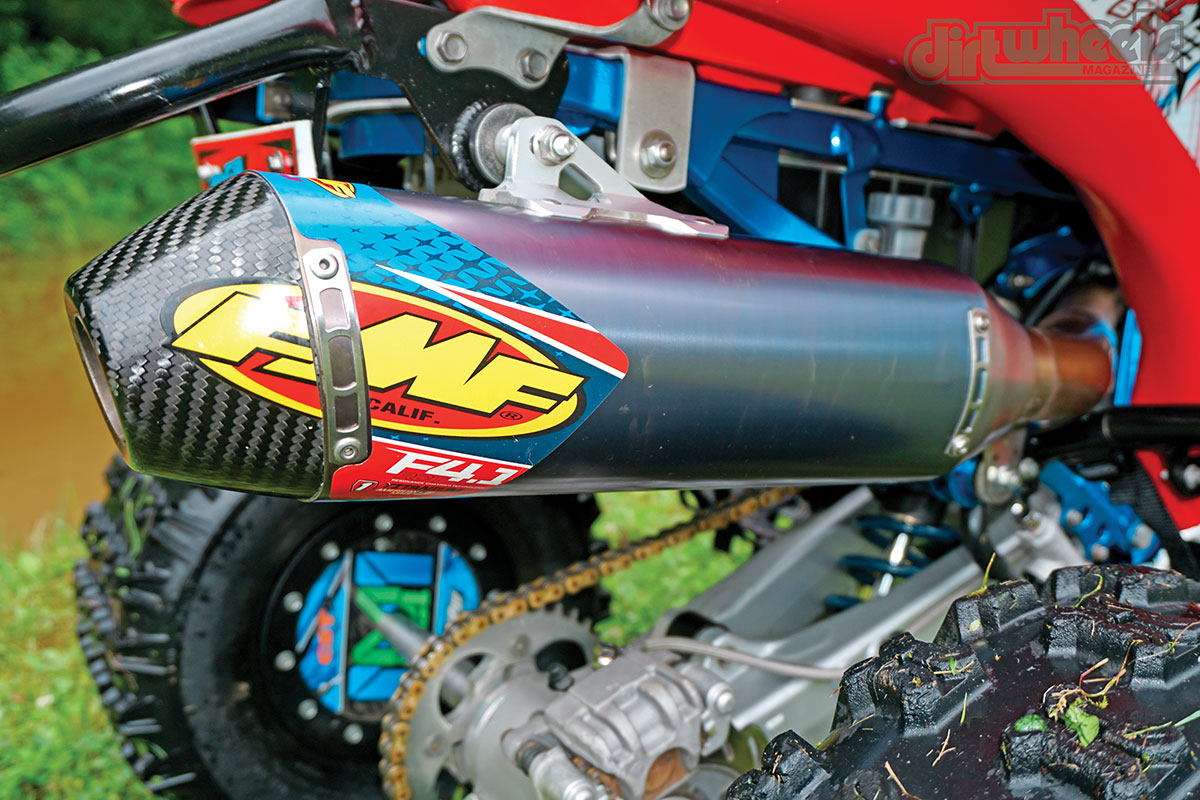 FMF nailed the look of this titanium/carbon fiber silencer combination. The blue-anodized finish is a nice addition that provides that FMF signature styling.