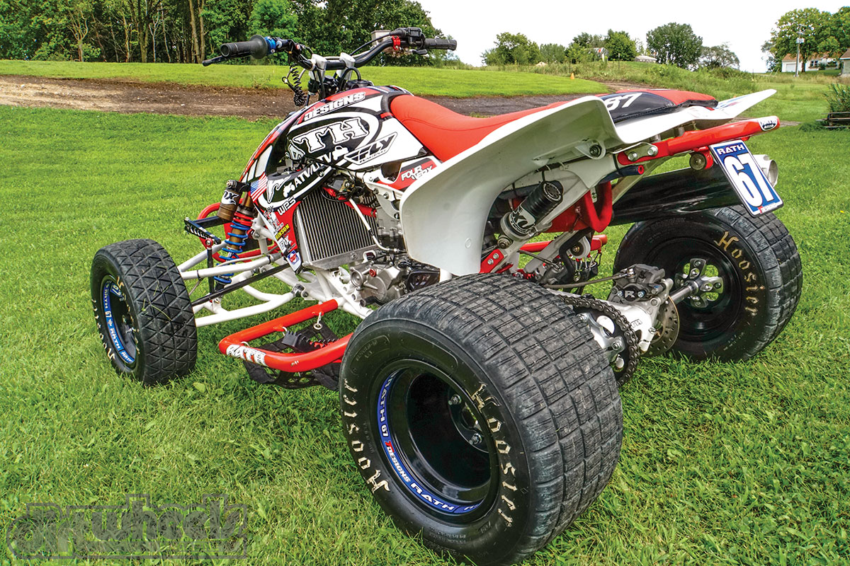 The Rath TT swingarm is 1.25 inches shorter than OEM. It helps the quad corner more efficiently. The Hoosier rear tires create some serious traction on the hard-pack terrain.