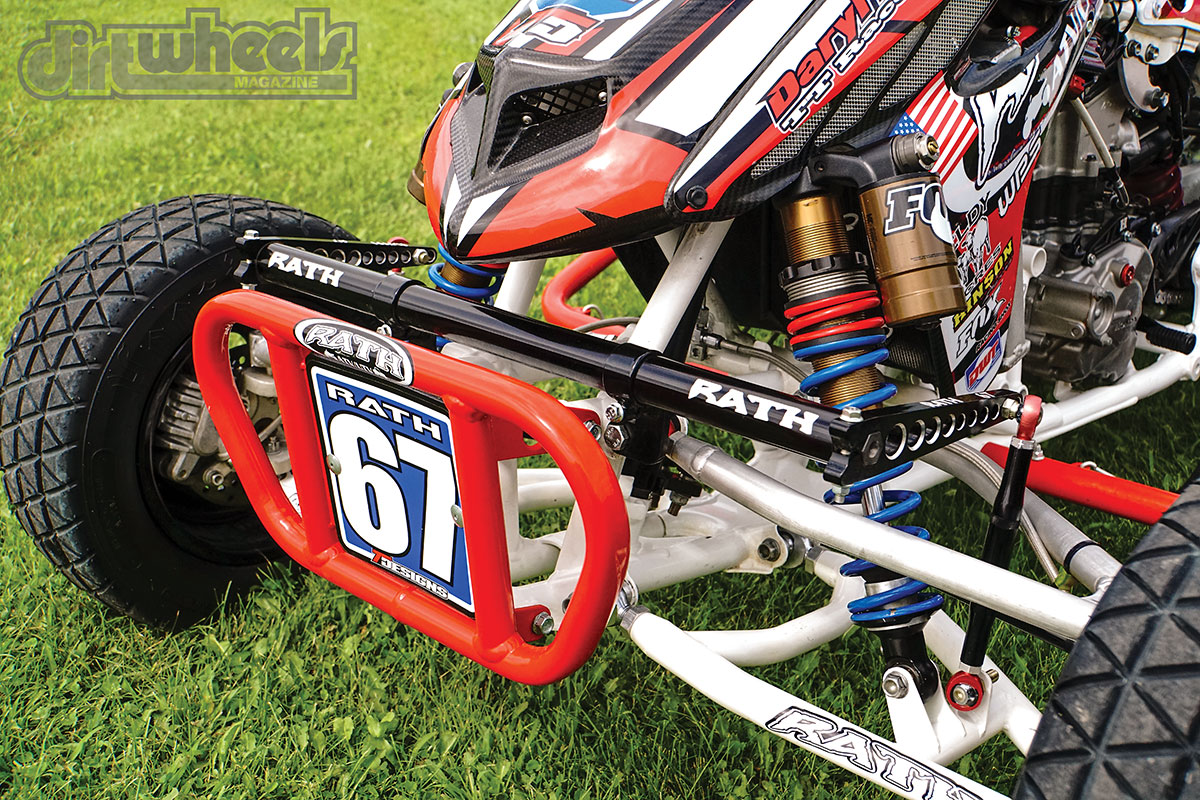 Rath has an adjustable billet-aluminum sway bar for different tracks. The RR chromoly A-arms are wider and forward from OEM and have sway-bar mounting tabs.