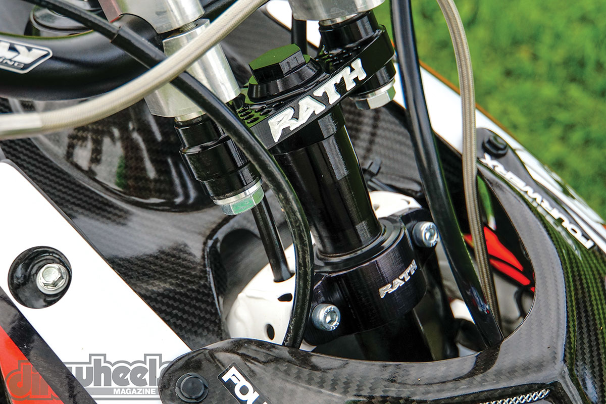 Rath Racing's anti-vibration stem and stem mount are strong. The stem is offered in different lengths and different bar-mount sizes.