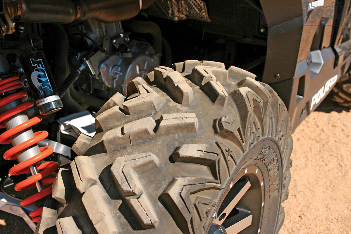 We paired the Twist rims with Arisun's Bruiser XT tires in a 30-inch size. The tread allows water and mud to escape quickly to keep getting traction.