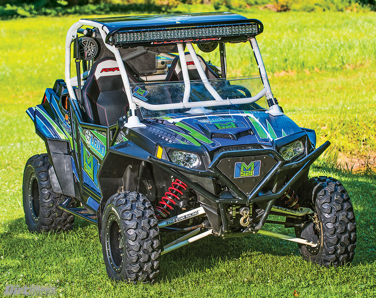 The large Rigid light bar brightens up the night on those late-night jaunts through the woods. The Blingstar cage offers intrusion bars, just in case something tries to enter the cab.