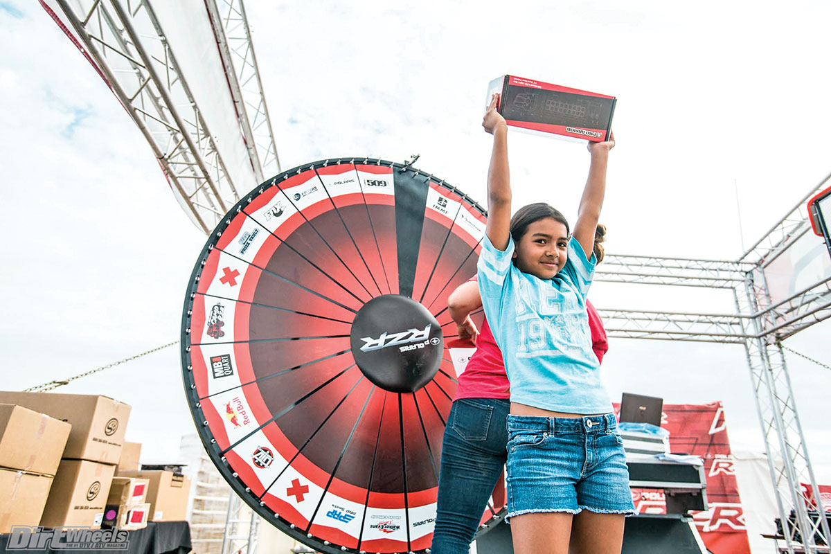 Everyone entering Camp RZR could line up for a shot at this prize wheel. This little girl was a winner.