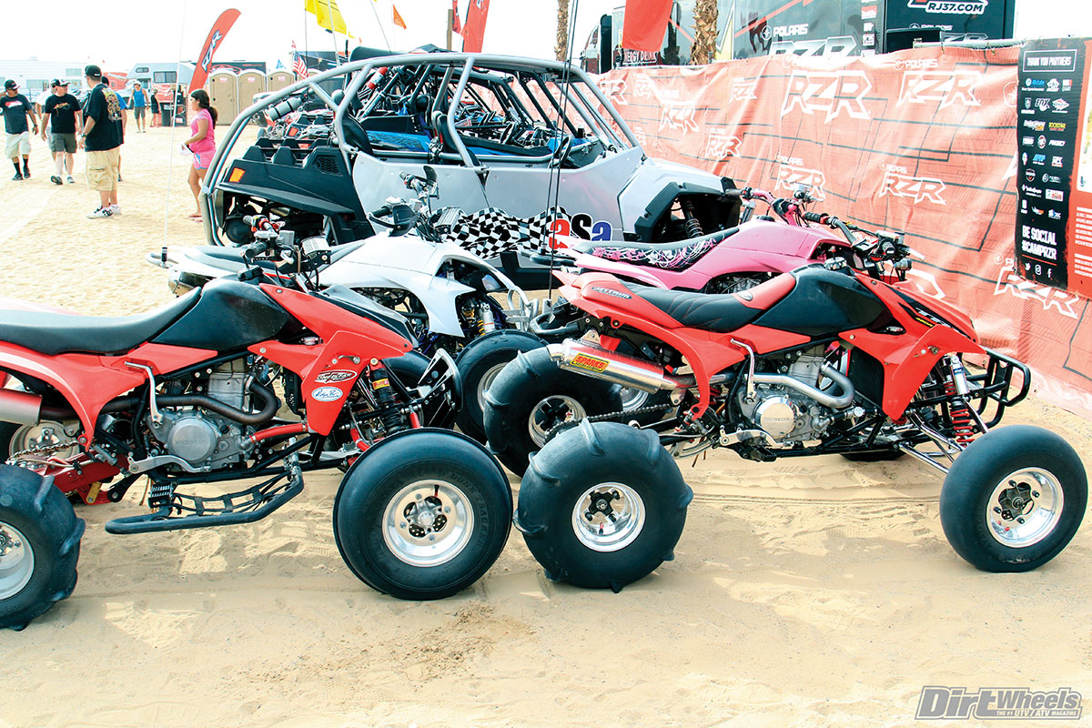 There are still plenty of quads to be seen in the dunes. This foursome was parked right at the gate to Camp RZR.