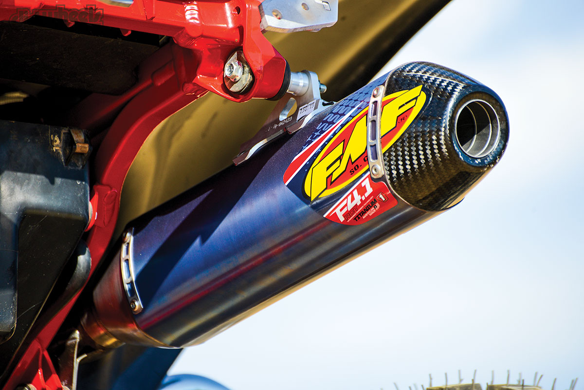 The FMF 4.1 full exhaust system really opened up the power and sound for this TRX. Not only does it sound and perform well, the anodizing and carbon tip give it an awesome look.