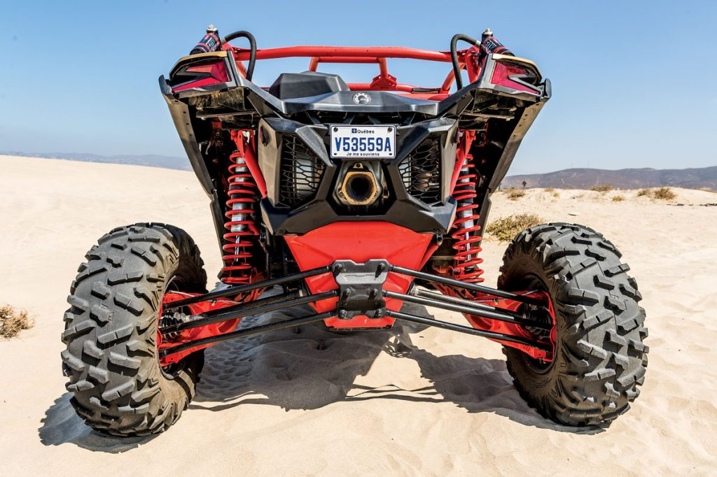 The chassis was designed to be very rigid so the suspension is easier to tune. The four-link torsional trailing-arm design is Trophy Truck-esque. The 3.0 Fox Podium RC2 shocks can really take a beating.