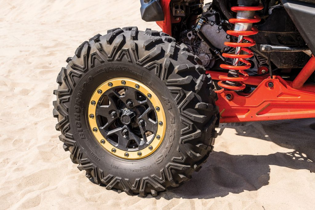 The OEM Can-Am beadlock wheels look great and are tough enough to handle the Baja terrain. The Bighorn 2.0 tires worked very well and gave the X3 a lot of traction.