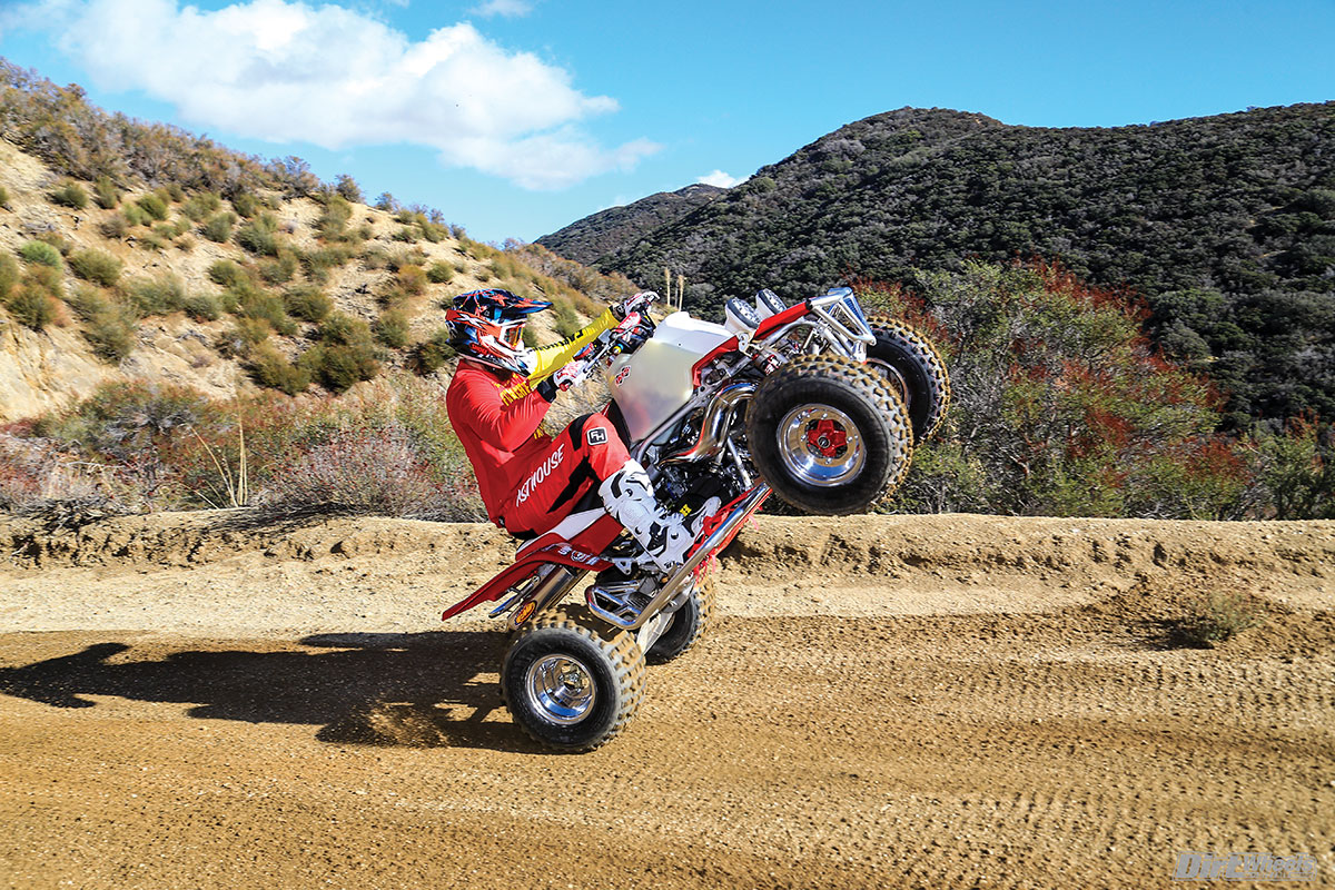 Boyko Racing made a great-running engine that is a rocket-ship thrill ride. Riding controlled wheelies like this made us confident of the rideability of this legendary quad.