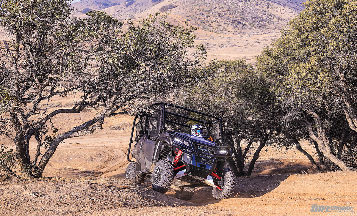 Honda made some very nice upgrades to the Pioneer 1000 Limited Edition. You can see our favorites, like the Fox QS3 shocks, A-arm guards, skid plate, bumper and body paint in this shot.