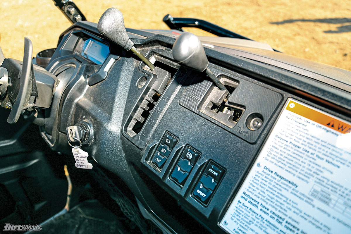 The dash switches and levers are well laid out and intuitive. The shifting is extremely smooth and easy to use compared to some popular CVT-equipped machines.