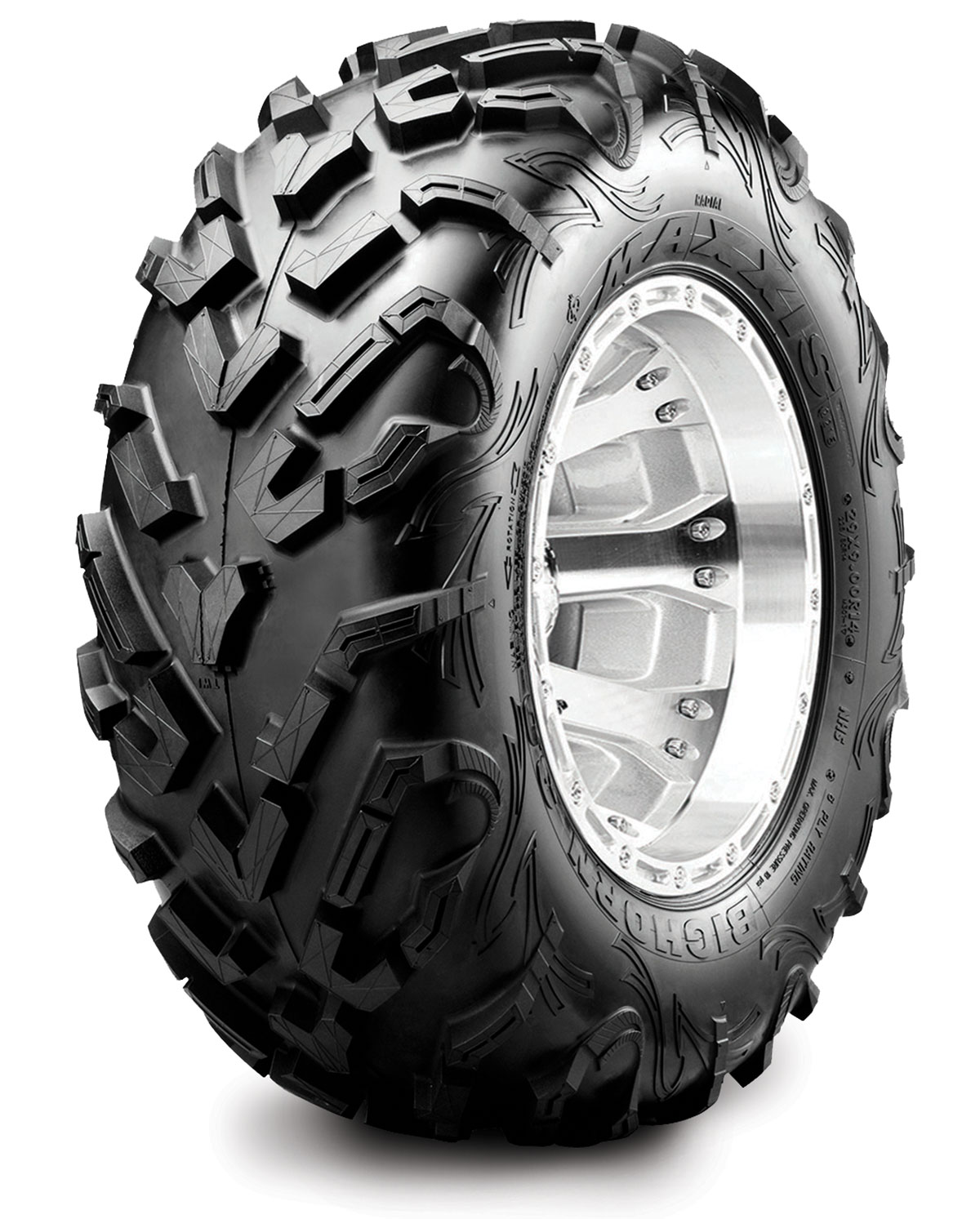 The front Maxxis Bighorn 3.0 tire is now directional, which helps with turning, while the rear has a bigger tread surface area that helps with traction.