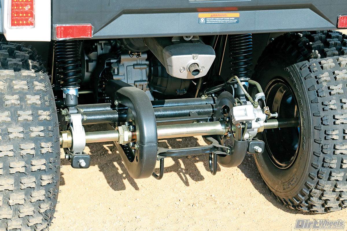 The swingarm rear suspension, solid axle and chain drive are all highly unique in the UTV world. We'd prefer that the final gearing was much lower than it is.