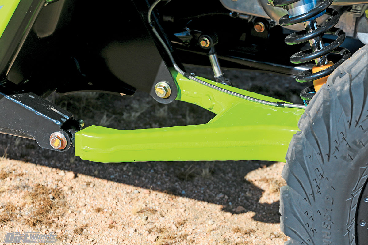 These RG Pro trailing arms on the Wildcat offer excellent suspension without requiring radius rods.