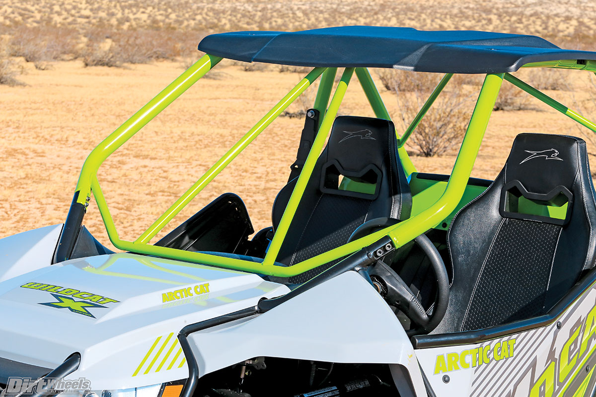 Like the Yamaha, the Arctic Cat Wildcat X Limited comes with a roof, but the 'Cat has a more robust cage.
