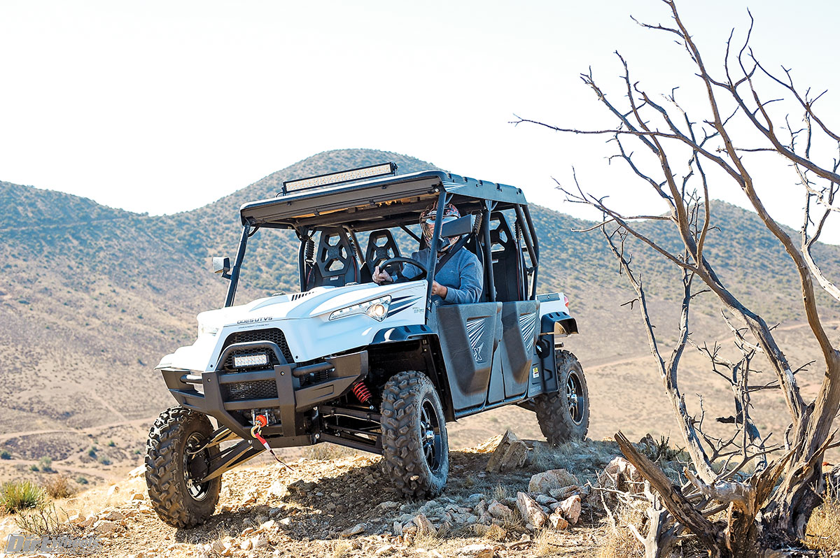 You will find that the X4 is exceptionally well equipped with beefy A-arms, long travel, lights, toolboxes, bucket seats, bed mat and floor mats, in addition to two remote-control winches!