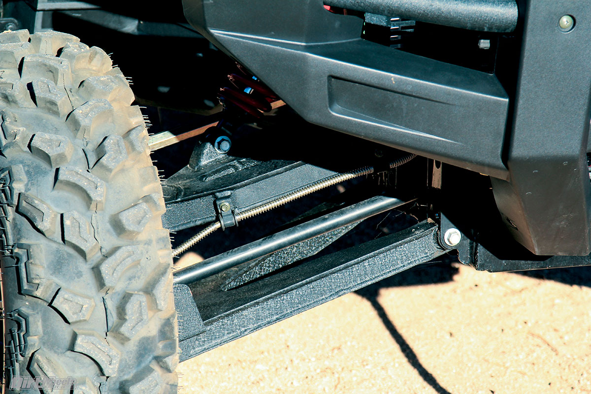 Boxed A-arms give it this heavy-duty look like they are suited to an off-road race car. The suspension is amazingly plush on the choppy dirt tracks that make up the lion's share of UTV use.