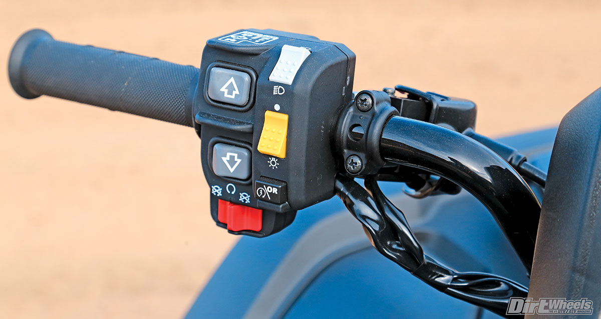 The dual-clutch transmission is manually shiftable through convenient buttons on the handlebar.