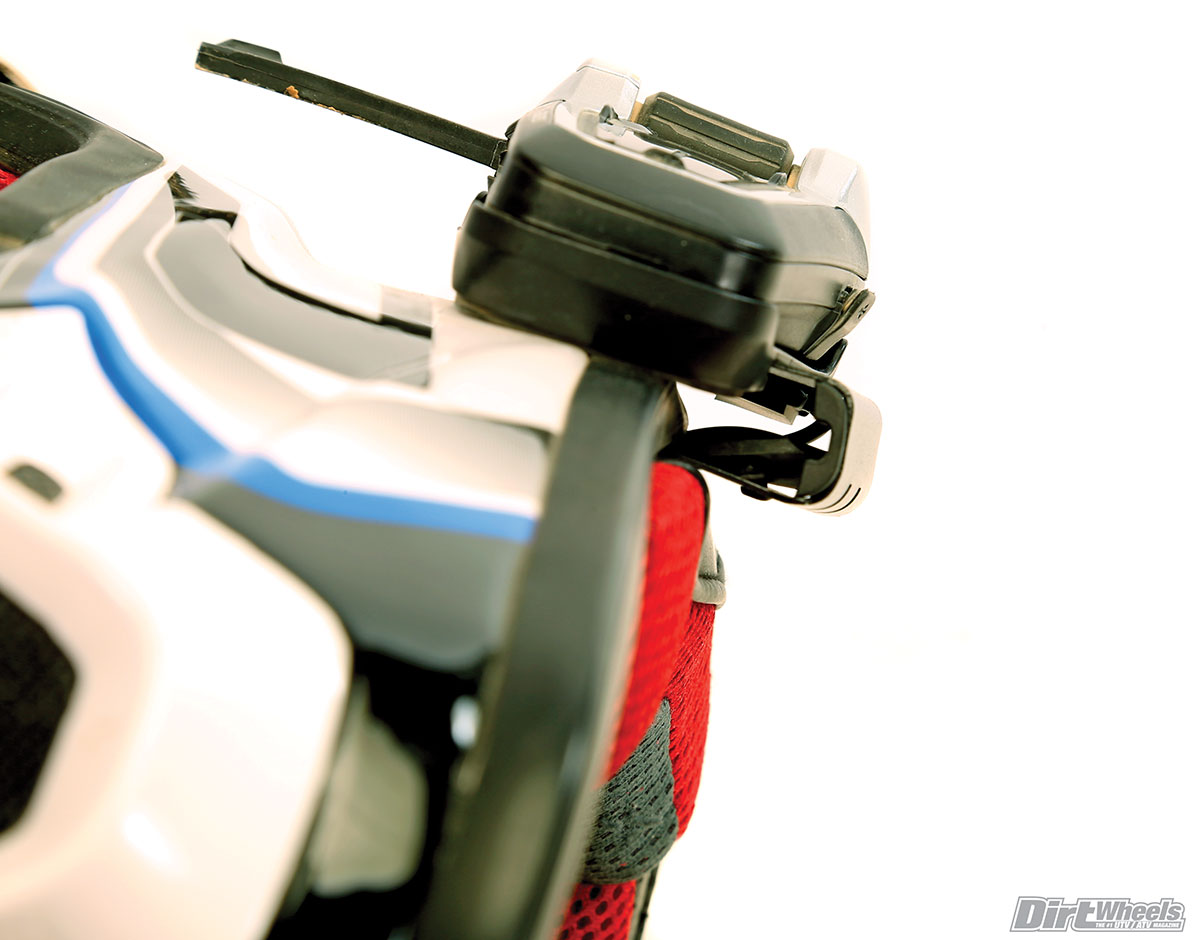 This is the clip-on mount. It is super easy to use, but requires room to get under the helmet padding. There is a stick-on mount as well.