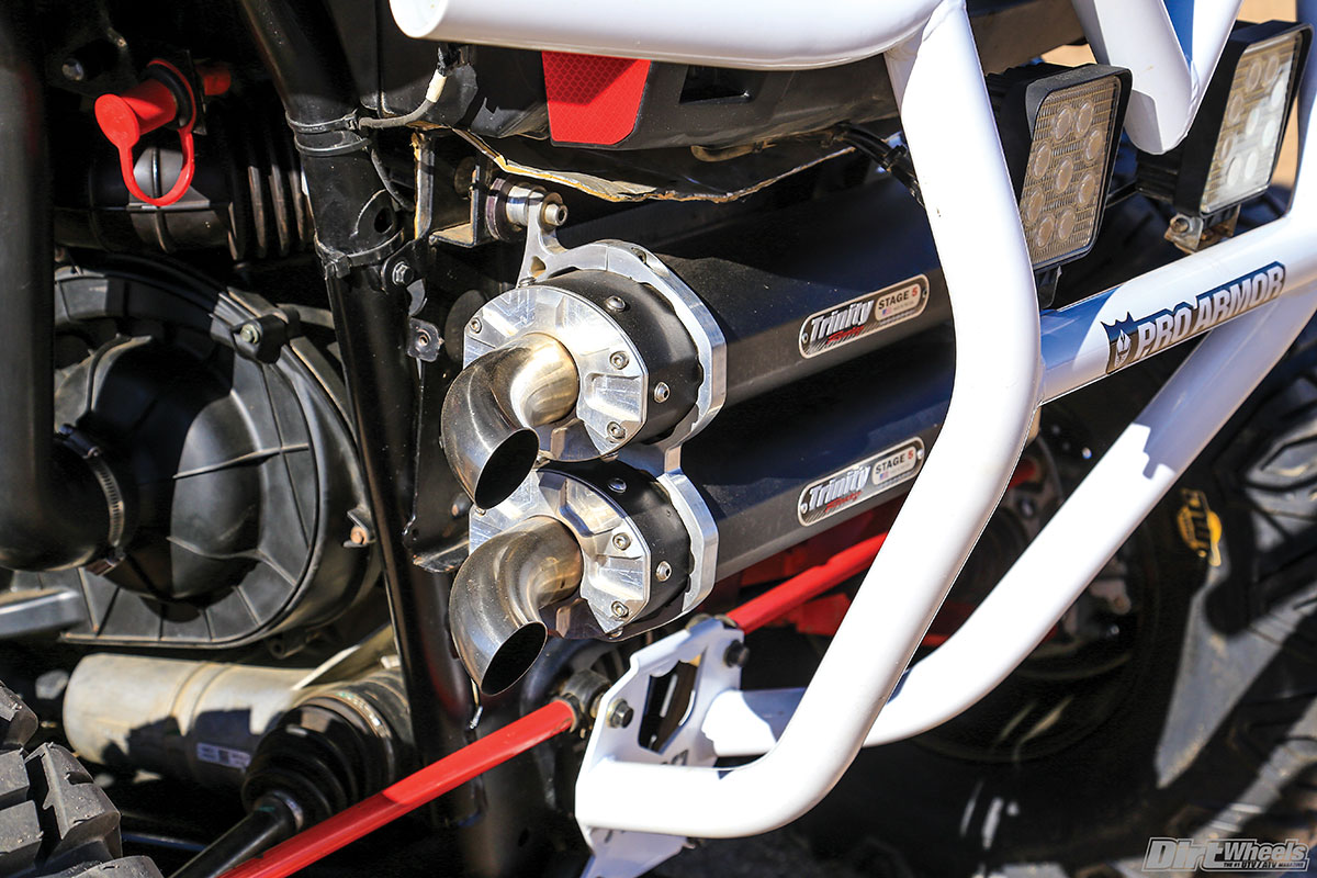 A Trinity Racing Stage 5 exhaust is another part of the performance package.