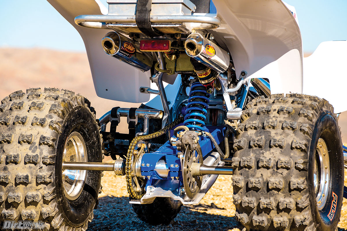 The rear suspension is also unique. It utilizes an Elka shock, +1 Lonestar swingarm and a custom-made billet block that makes it a no-link setup.