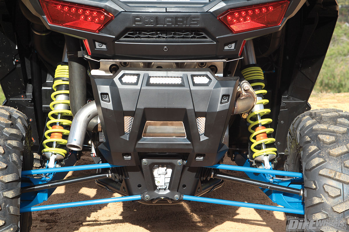 The rear suspension uses trailing arms with Walker Evans 2.5 needle shocks.
