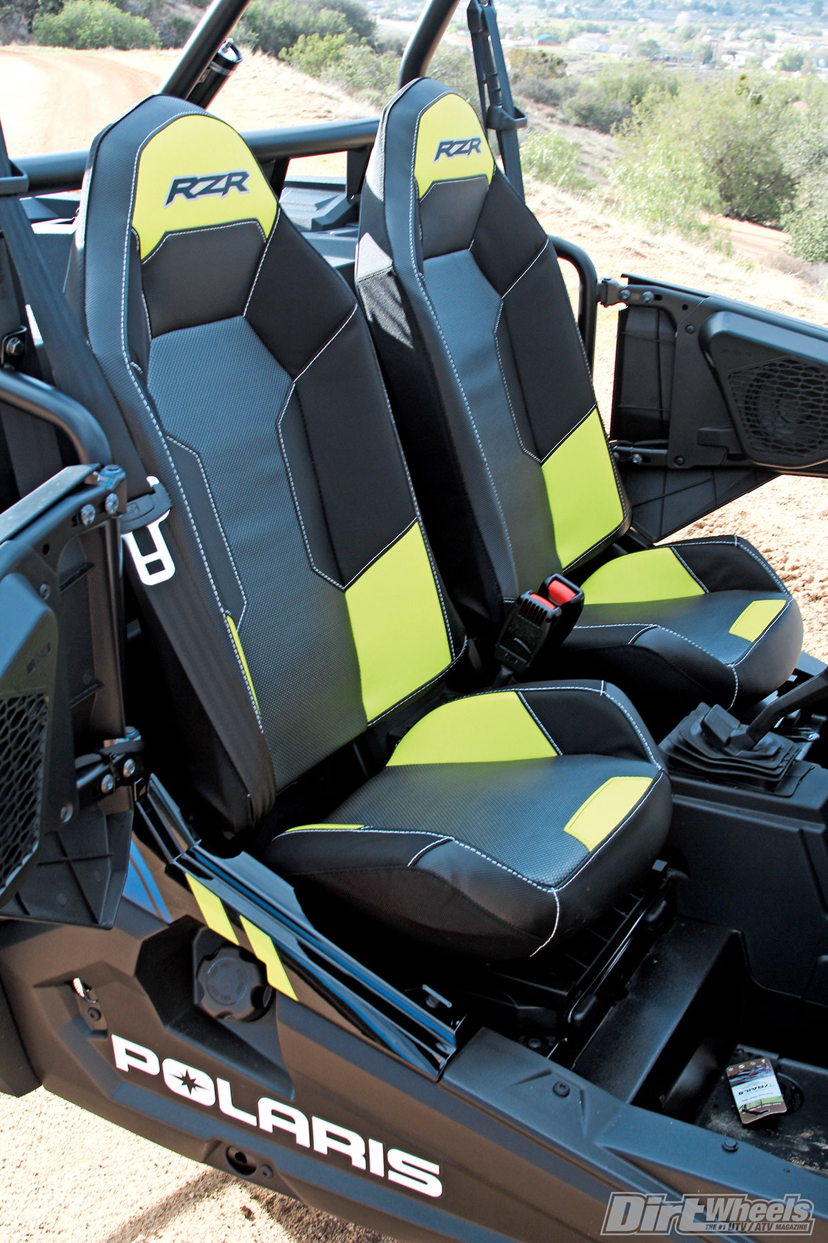 Polaris RZR seats are comfortable and hold you in place pretty well. We would have preferred their harness system instead of just automotive-style seat belts.